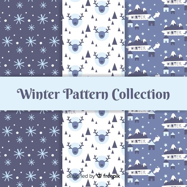 Coleção padrão de inverno Vetor grátis