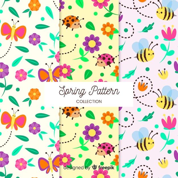 Coleção padrão de primavera Vetor grátis