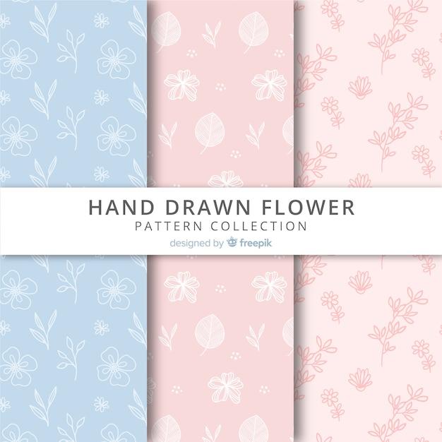 Coleção padrão floral Vetor grátis