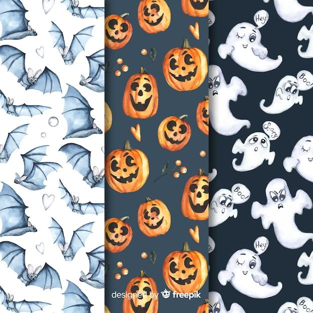 Coleção padrão para uma festa de halloween assustador Vetor grátis