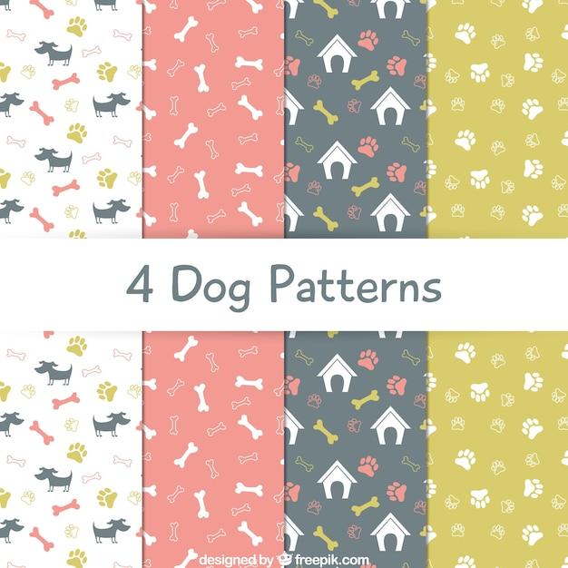 Coleção padrões cão Vetor Premium