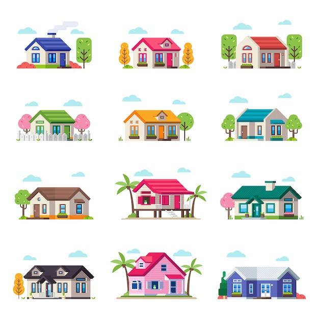 Coleção pequena da casa de privat. vector house building set em tipo diferente Vetor Premium