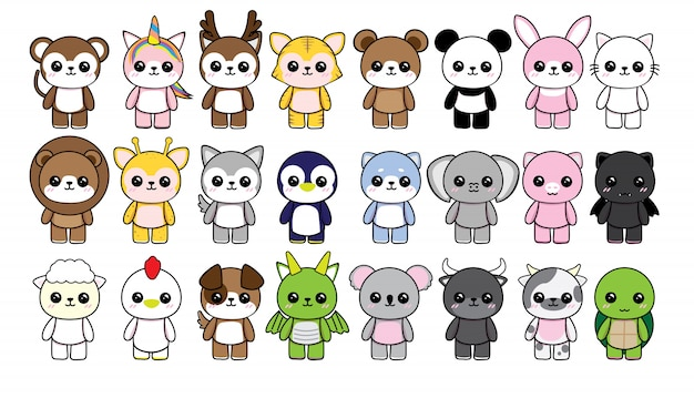 Coleção personagem animais cute kawaii no fundo branco Vetor Premium