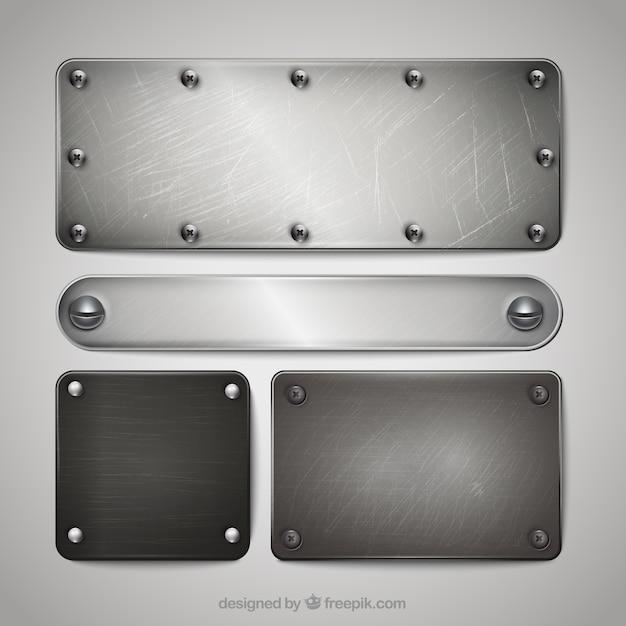 Coleção placas de prata Vetor Premium
