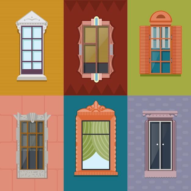 Coleção plana colorida do windows Vetor grátis