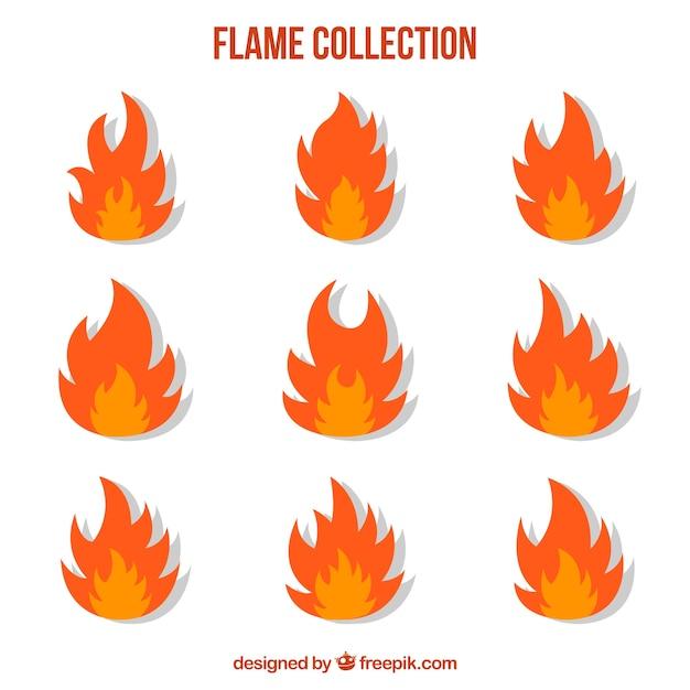 Coleção plana de chamas em duas cores Vetor grátis