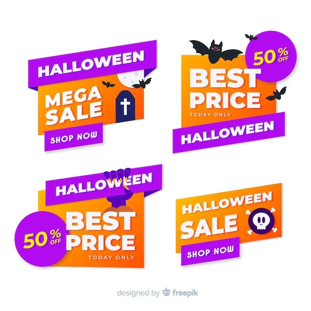 Coleção plana de etiqueta e distintivo de venda de halloween Vetor grátis