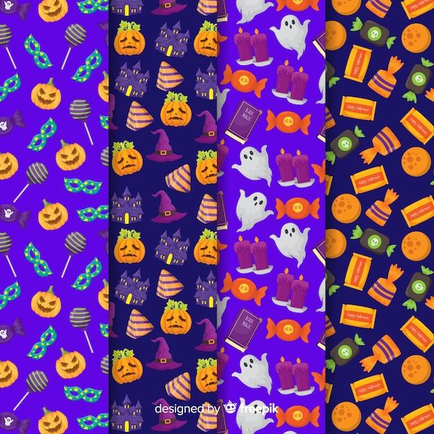 Coleção plana de halloween padrão com abóbora e doces Vetor grátis