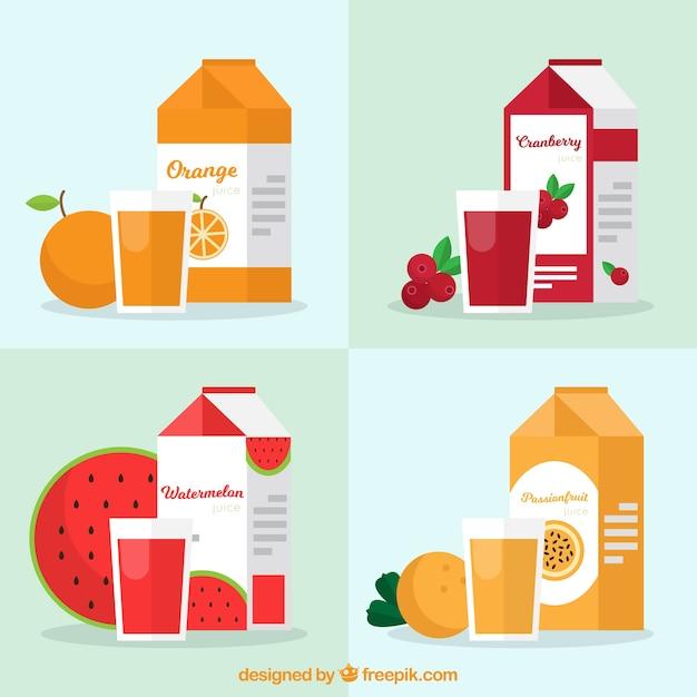 Coleção plana de recipientes com sucos de frutas Vetor grátis