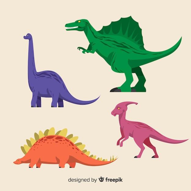 Coleção plana dinossauro Vetor grátis