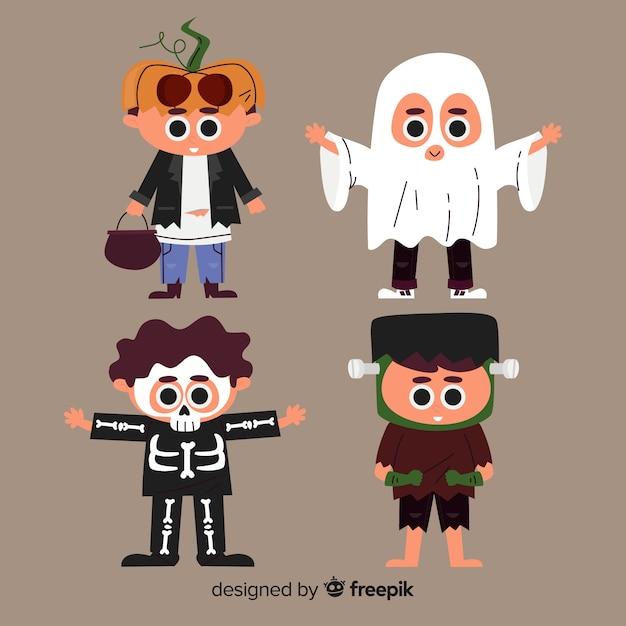 Coleção plana garoto halloween Vetor grátis