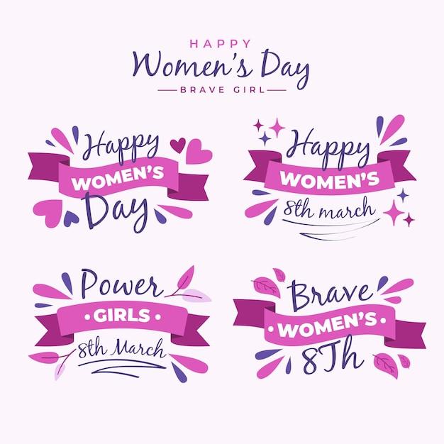 Coleção plana internacional de crachás do dia da mulher Vetor grátis