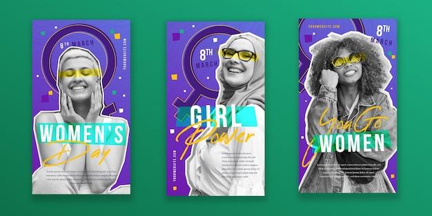 Coleção plana internacional de histórias do instagram do dia da mulher Vetor grátis