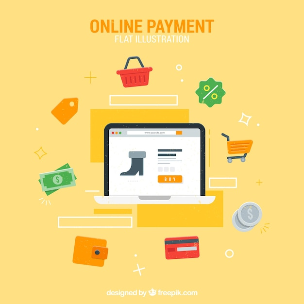 Coleção plana sobre o pagamento on-line Vetor grátis
