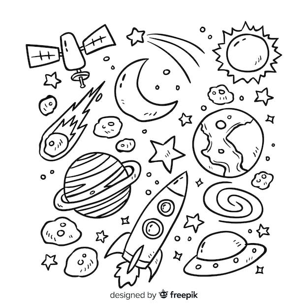 Coleção planeta em design de estilo doodle Vetor grátis