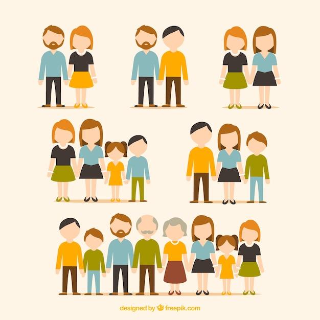 Coleção plano de famílias Vetor grátis