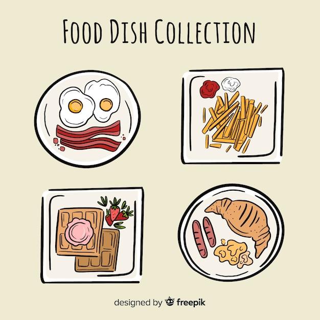 Coleção prato de comida Vetor grátis