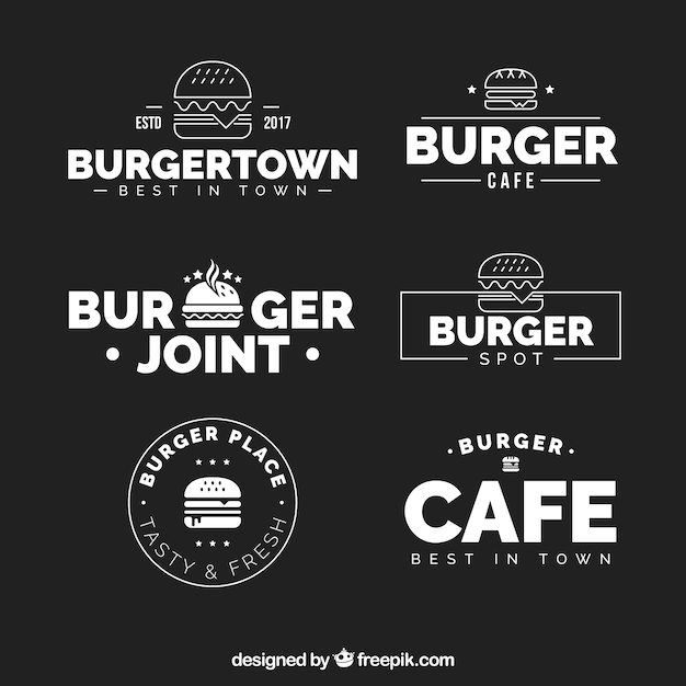 Preferência Coleção preto e branco do logotipo do hamburguer | Baixar vetores  WW49