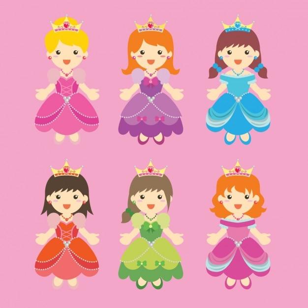 Colecao Princesa Colorido Vetor Gratis