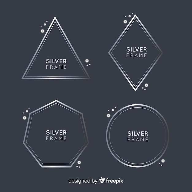 Coleção quadro de prata Vetor grátis
