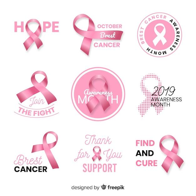 Coleção realista de conscientização do câncer de mama Vetor grátis