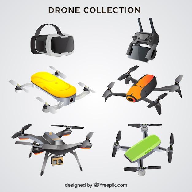 Coleção realista de drones Vetor grátis