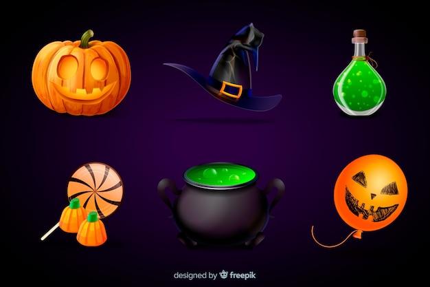 Coleção realista de elemento de halloween Vetor grátis