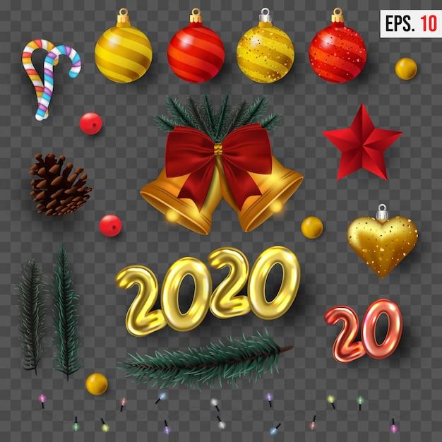 Coleção realista de elementos de natal Vetor Premium