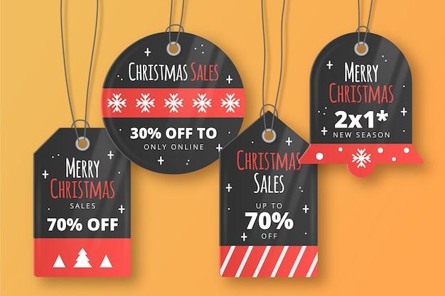 Coleção realista de etiquetas de venda de natal Vetor grátis