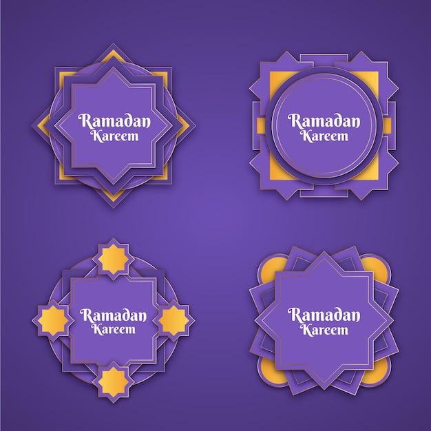 Coleção realista de etiquetas do ramadã Vetor grátis