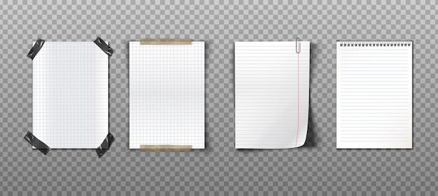 Coleção realista de notas de papel com fitas, clipe de papel e caderno espiral Vetor grátis