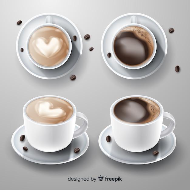 Coleção realista de xícara de café Vetor grátis