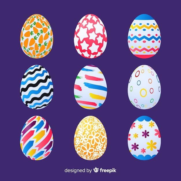 Coleção realista ovo de páscoa Vetor grátis