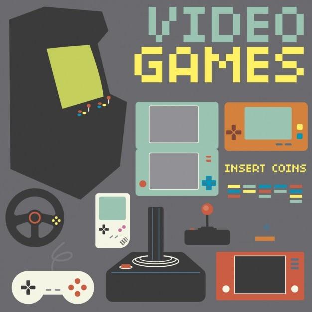 Coleção Retro Game Console Vetor grátis