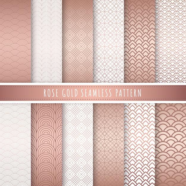 Coleção sem emenda do teste padrão luxuoso do ouro de rosa. Vetor Premium