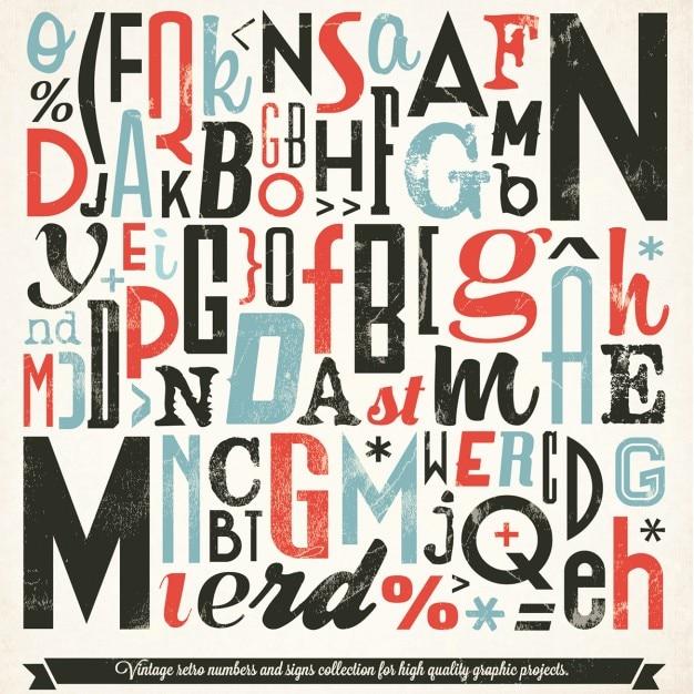 Coleção tipografia various vintage retro Vetor grátis