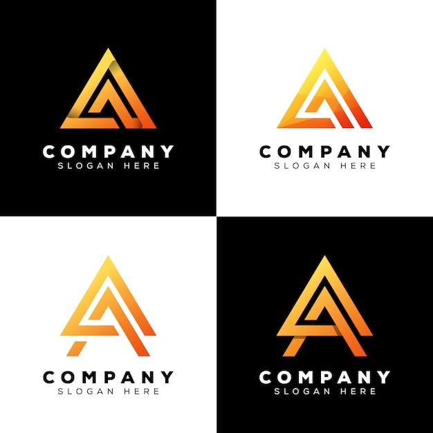Coleção triângulo letra a logotipo, letra inicial moderna logotipo design premium Vetor Premium