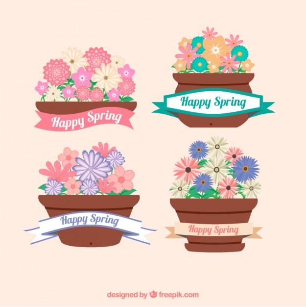 Coleção vaso primavera Vetor grátis