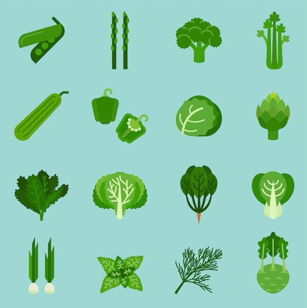 Coleção verde dos vegetais, alimento gráfico da informação, ilustração do vetor. Vetor Premium