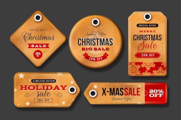 Coleção vintage de etiquetas de venda de natal Vetor grátis