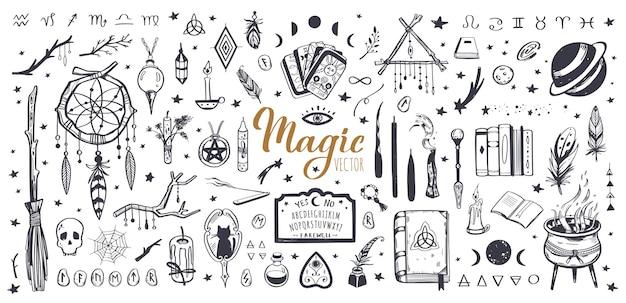 Coleção vintage de feitiçaria e mágica com ilustração isolada da wicca Vetor Premium