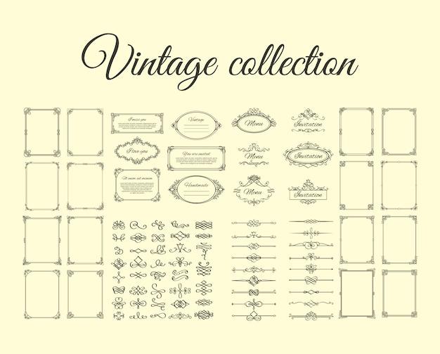 Coleção vintage de molduras e bordas Vetor Premium