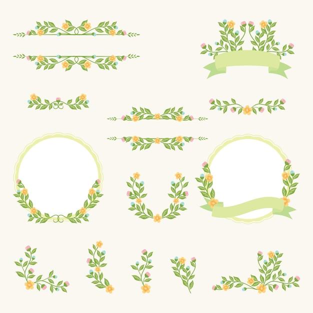 Coleção vintage flower frame wedding Vetor Premium