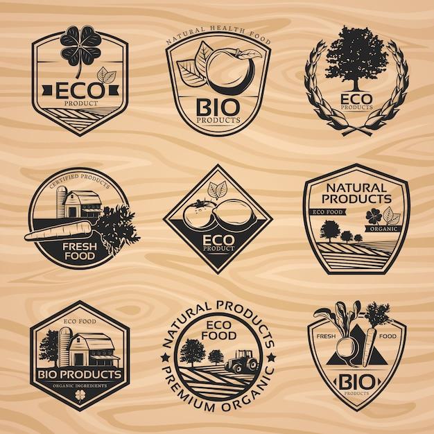 Coleção vintage natural labels Vetor grátis