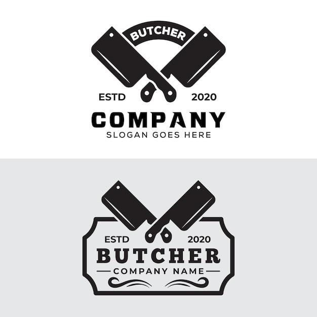 Coleção vintage retrô de logotipo de açougueiro Vetor Premium