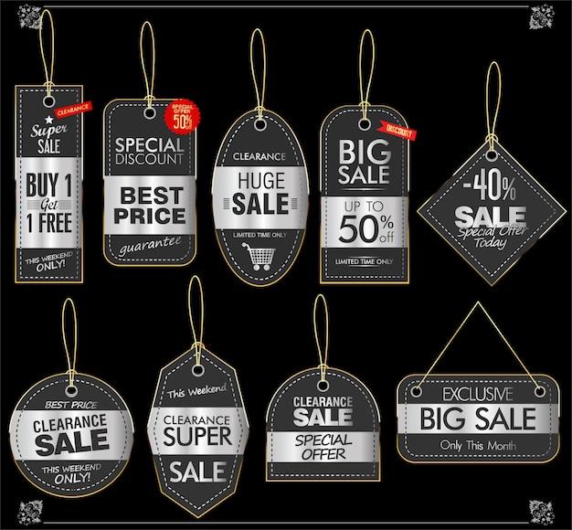 Coleção vintage retrô de preço Vetor Premium