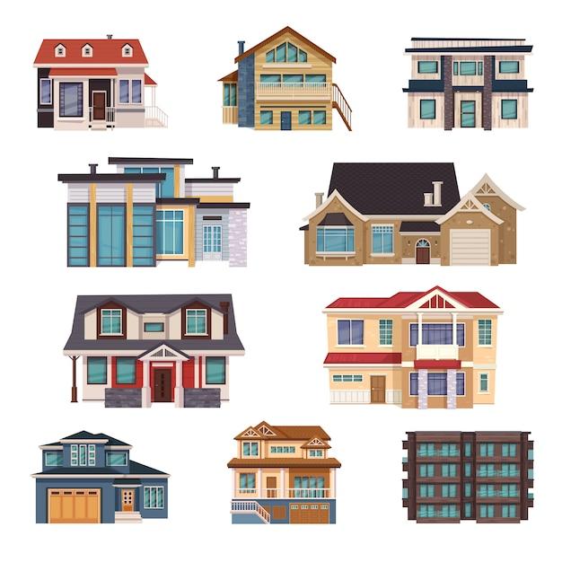 Colecção de casas suburbanas Vetor grátis