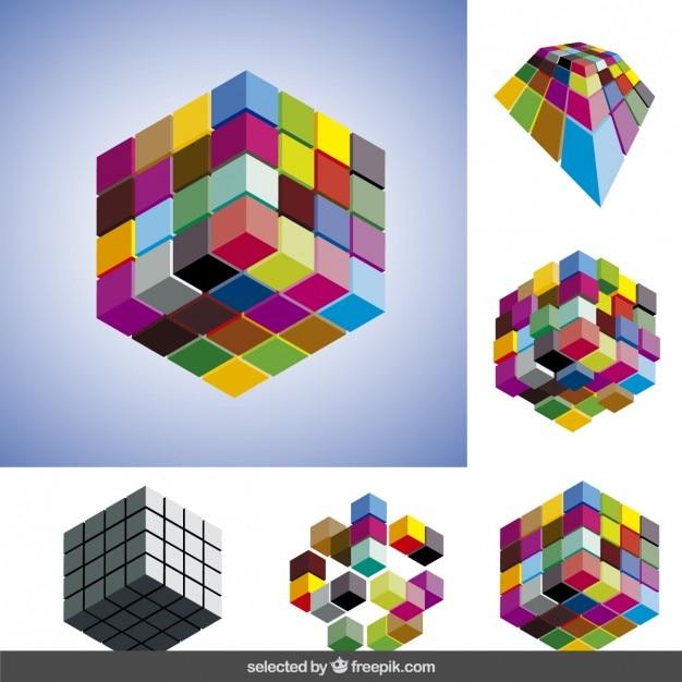 Colec o de cubos 3d baixar vetores gr tis for Immagini tridimensionali gratis