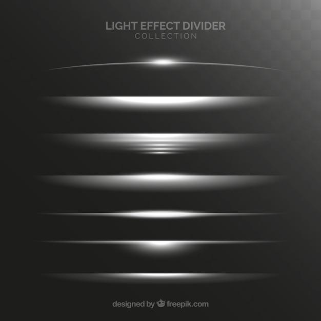 Colecção de divisores com efeito de luz Vetor grátis