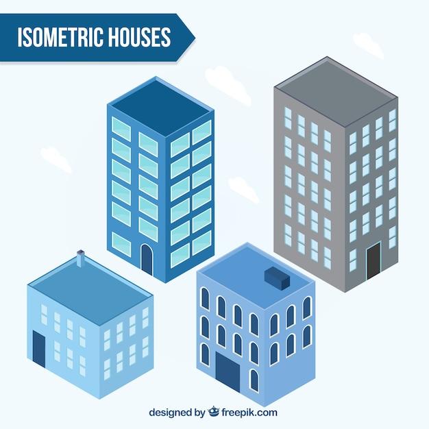 Colecção de edifícios isométricos Vetor grátis